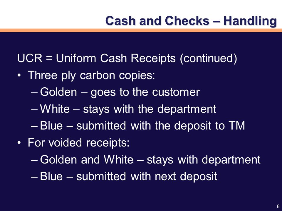 29 Take the money to TM/Cashiering Located at S-113 Criser Hall –Drop box Emptied at 8:00 a.m.
