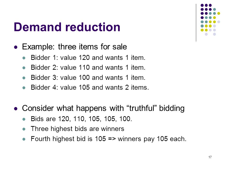 Demand reduction Example: three items for sale Bidder 1: value 120 and wants 1 item.