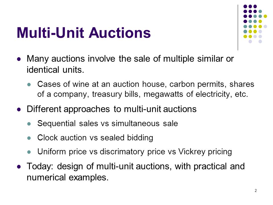 Many auctions involve the sale of multiple similar or identical units. Cases of wine at an auction house, carbon permits, shares of a company, treasur