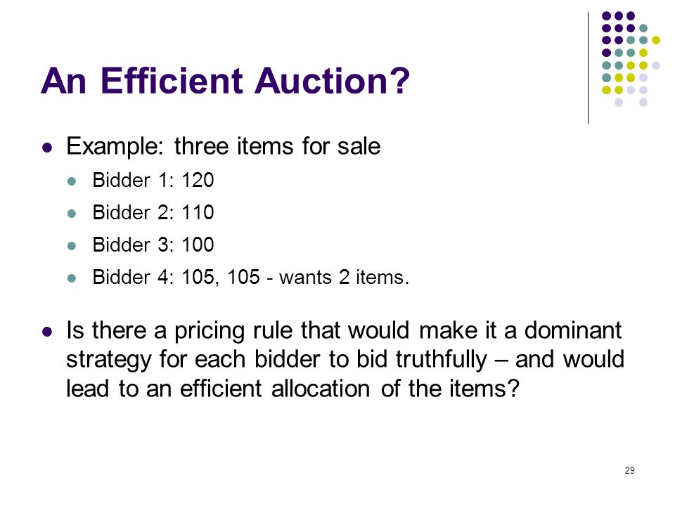 An Efficient Auction.