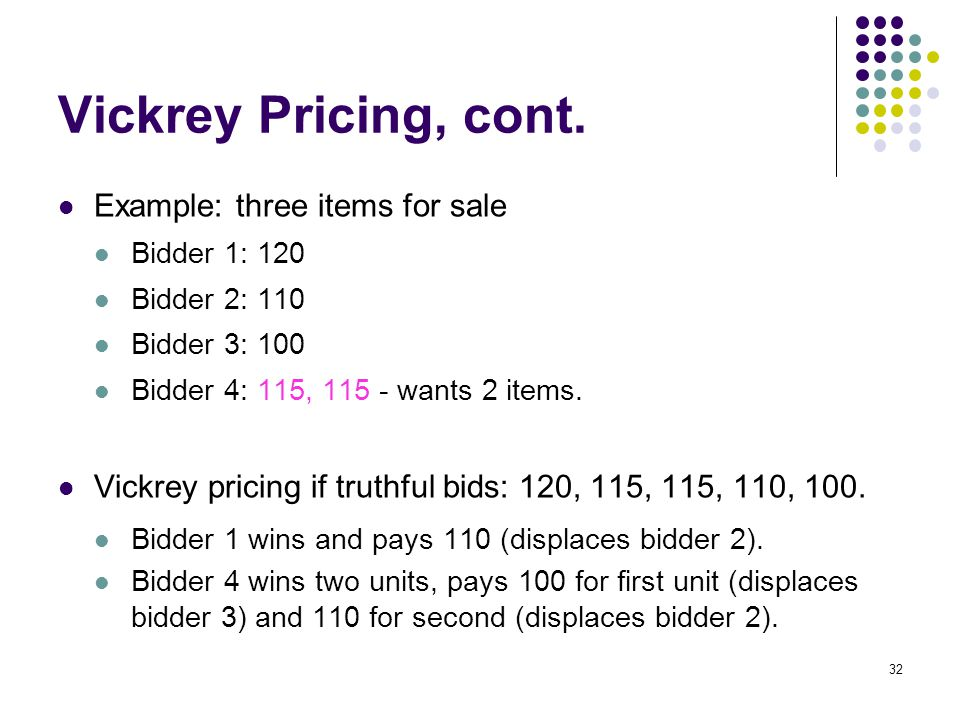Vickrey Pricing, cont.
