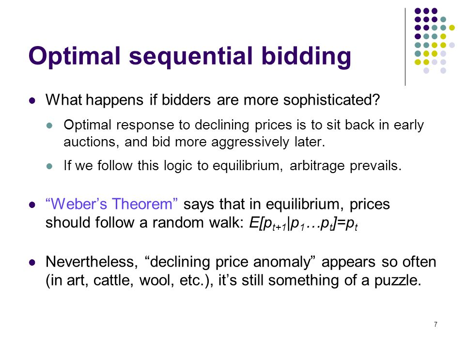 Optimal sequential bidding What happens if bidders are more sophisticated.