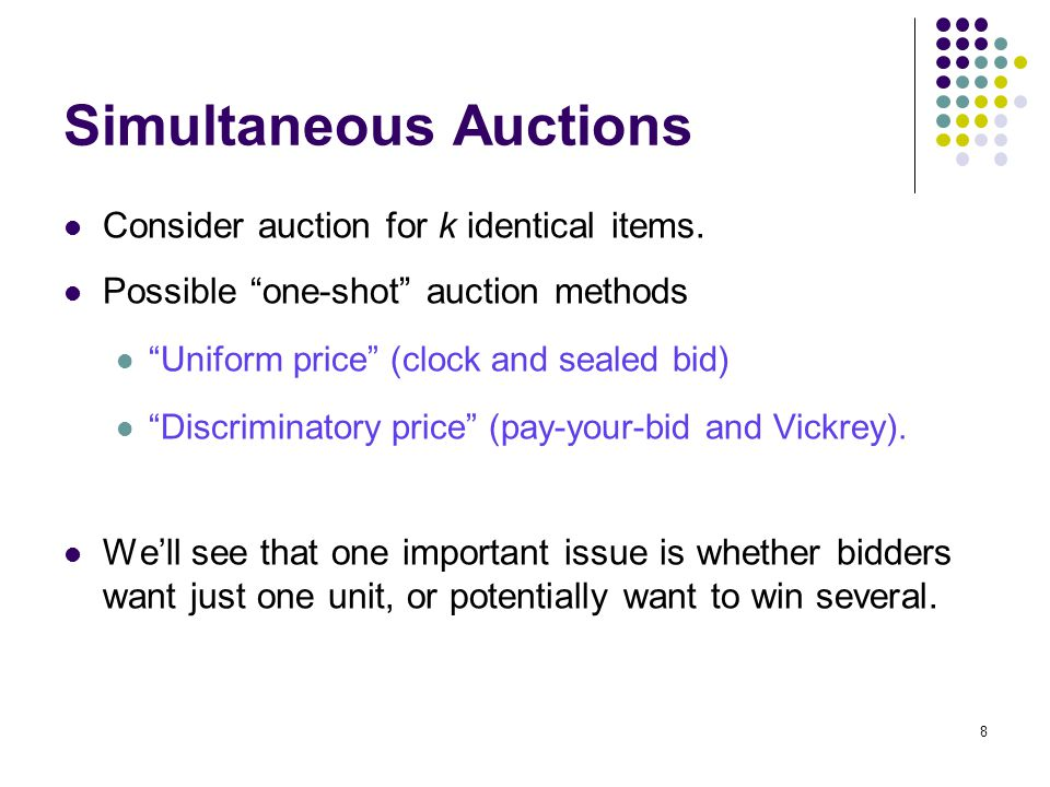 Simultaneous Auctions Consider auction for k identical items.