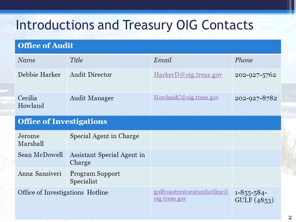 Introductions and Treasury OIG Contacts Office of Audit NameTitleEmailPhone Debbie HarkerAudit DirectorHarkerD@oig.treas.gov202-927-5762 Cecilia Howla