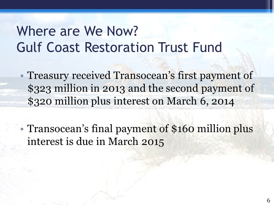 Where are We Now.Some Reasons that RESTORE Act Funds Haven't Gone Out to the Gulf Coast Region.