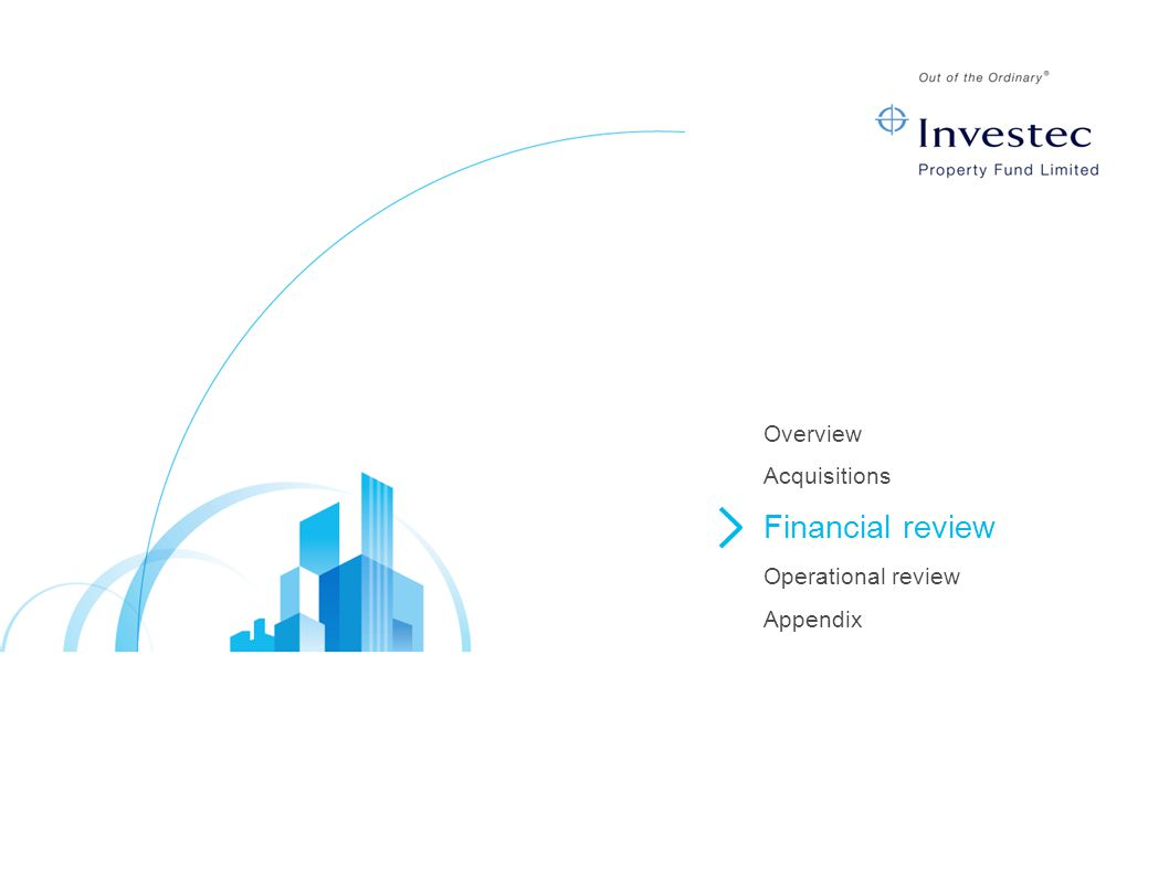 Overview Acquisitions Financial review Operational review Appendix