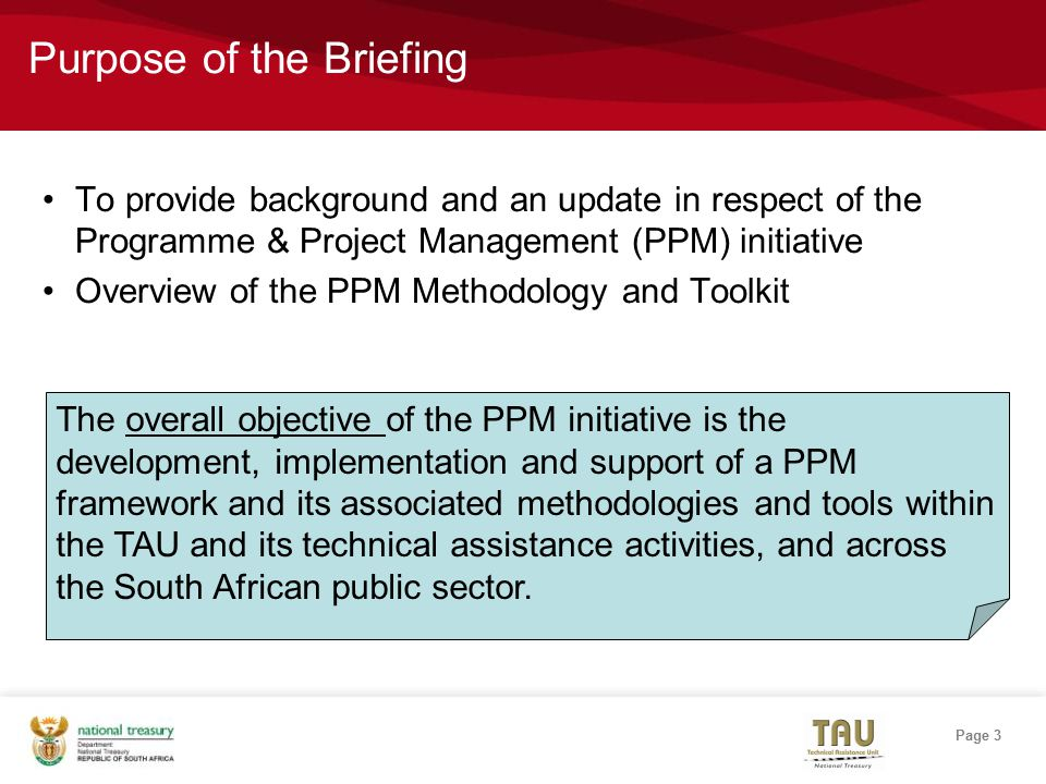 Page 3 Purpose of the Briefing To provide background and an update in respect of the Programme & Project Management (PPM) initiative Overview of the PPM Methodology and Toolkit The overall objective of the PPM initiative is the development, implementation and support of a PPM framework and its associated methodologies and tools within the TAU and its technical assistance activities, and across the South African public sector.