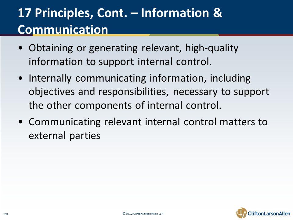 ©2012 CliftonLarsonAllen LLP 20 17 Principles, Cont.