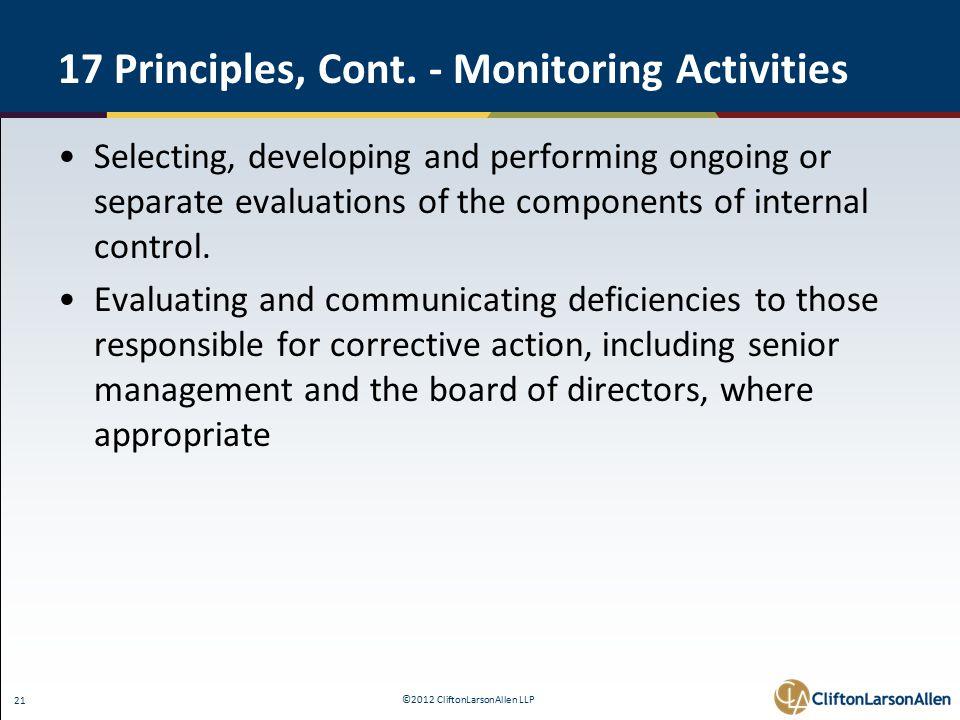 ©2012 CliftonLarsonAllen LLP 21 17 Principles, Cont.
