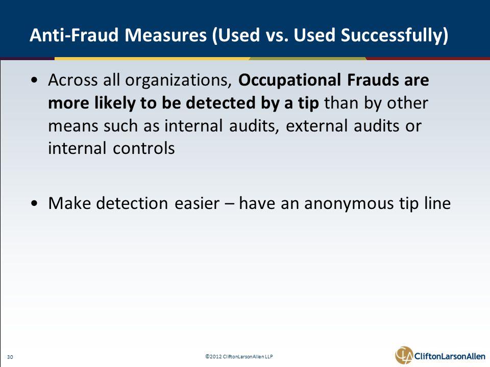 ©2012 CliftonLarsonAllen LLP 30 Anti-Fraud Measures (Used vs.