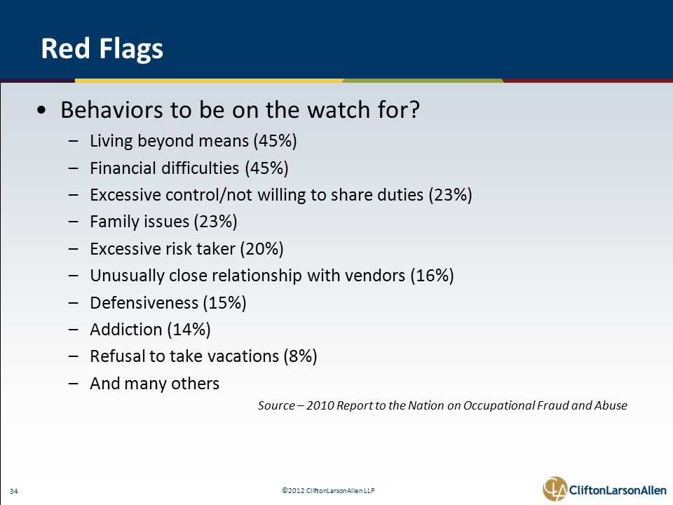 ©2012 CliftonLarsonAllen LLP 34 Red Flags Behaviors to be on the watch for.