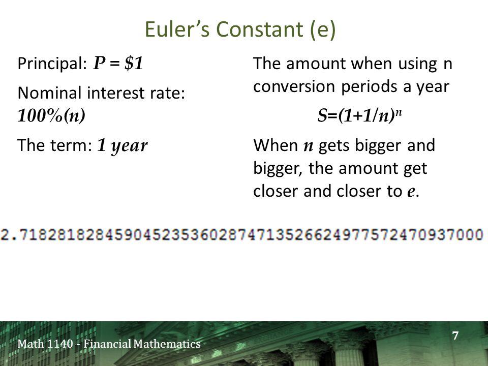Math 1140 - Financial Mathematics Logarithm base 5 of 5 3 is: A)0 B)1 C)3 D)5 Pledged quiz 8