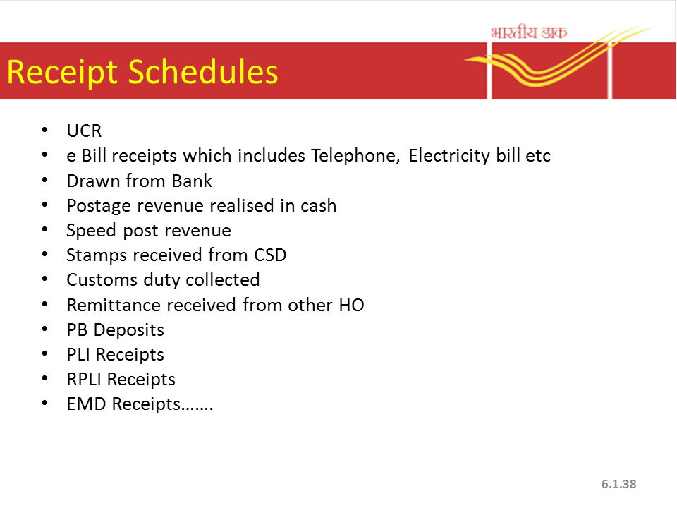 Receipt Schedules UCR e Bill receipts which includes Telephone, Electricity bill etc Drawn from Bank Postage revenue realised in cash Speed post revenue Stamps received from CSD Customs duty collected Remittance received from other HO PB Deposits PLI Receipts RPLI Receipts EMD Receipts…….