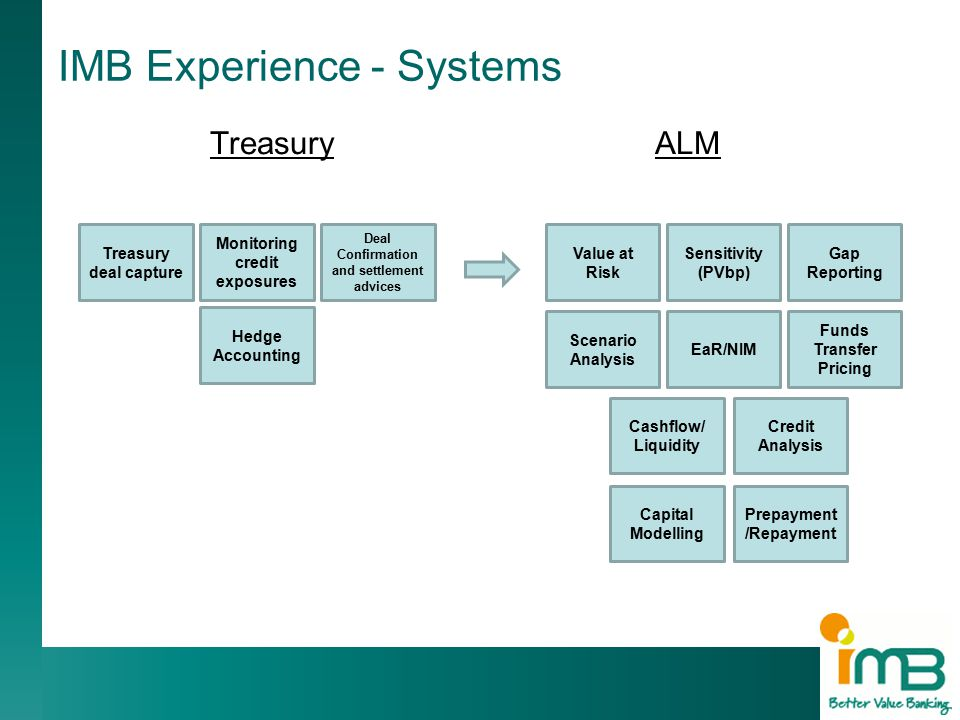 TreasuryALM 20 IMB Experience - Systems Treasury deal capture Hedge Accounting Deal Confirmation and settlement advices Monitoring credit exposures Scenario Analysis Gap Reporting Sensitivity (PVbp) Value at Risk EaR/NIM Credit Analysis Cashflow/ Liquidity Funds Transfer Pricing Capital Modelling Prepayment /Repayment