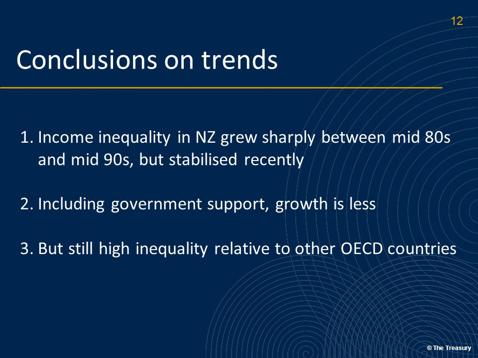 © The Treasury Conclusions on trends 1.Income inequality in NZ grew sharply between mid 80s and mid 90s, but stabilised recently 2.Including government support, growth is less 3.But still high inequality relative to other OECD countries Including government services – HH 'final income' – also important 12
