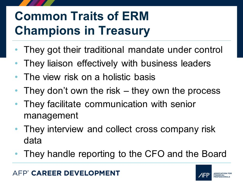 Common Traits of ERM Champions in Treasury They got their traditional mandate under control They liaison effectively with business leaders The view risk on a holistic basis They don't own the risk – they own the process They facilitate communication with senior management They interview and collect cross company risk data They handle reporting to the CFO and the Board
