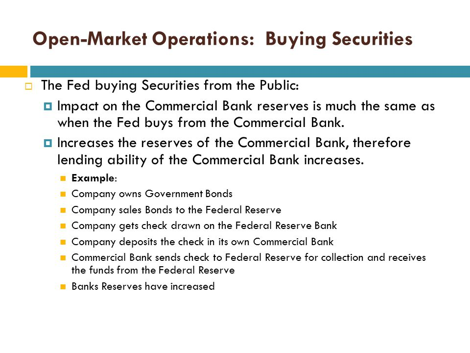 Open-Market Operations: Buying Securities  The Fed buying Securities from Commercial Banks:  Commercial Bank gives up Government Bonds to the Fed. 