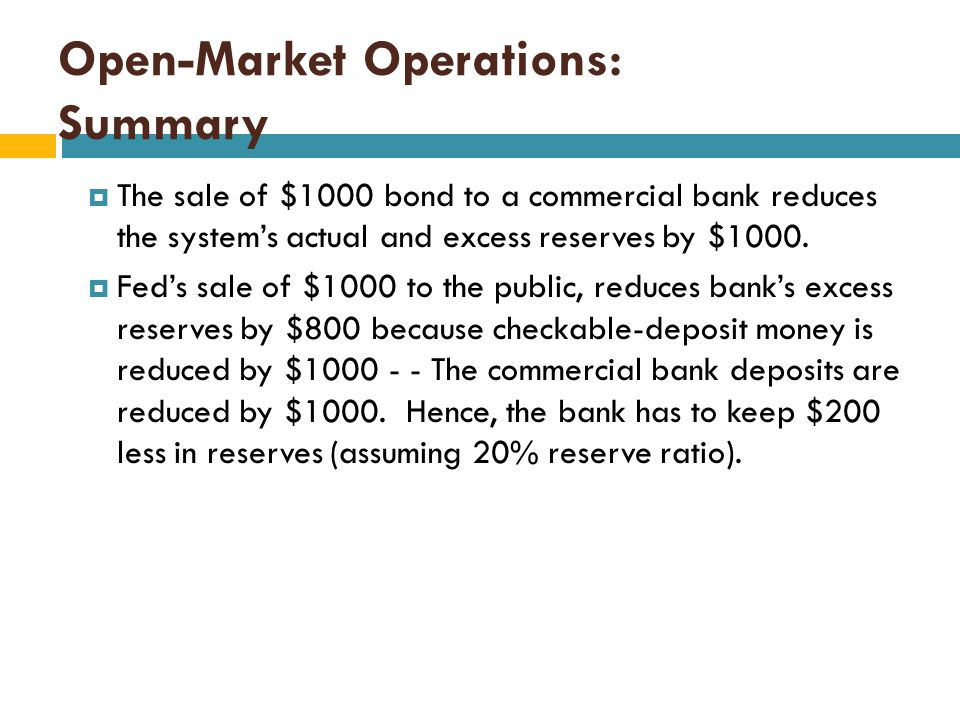 Open-Market Operations: Fed Selling Securities  Selling securities to the public:  Consider a company that wants to buy a government bond. The compa