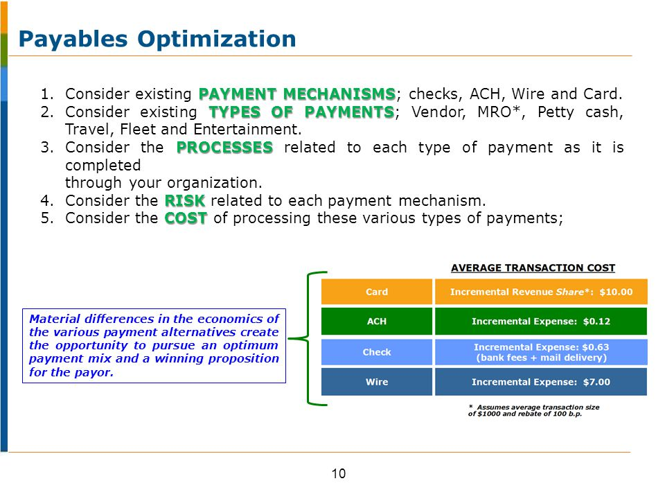PAYMENT MECHANISMS 1.Consider existing PAYMENT MECHANISMS; checks, ACH, Wire and Card.