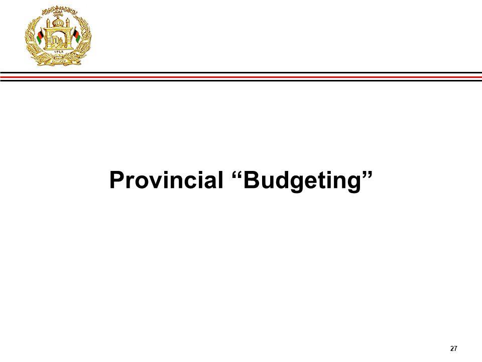"27 GIRoA Budget and Local Governance Basics Provincial ""Budgeting"""