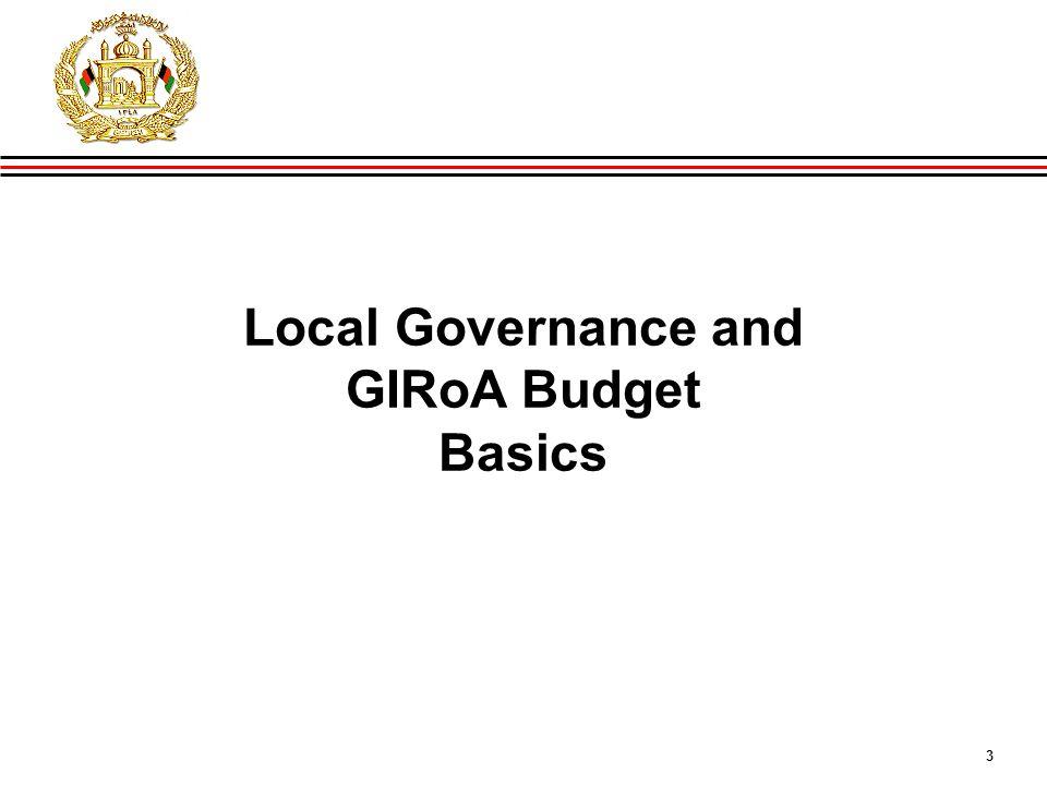 3 GIRoA Budget and Local Governance Basics Local Governance and GIRoA Budget Basics