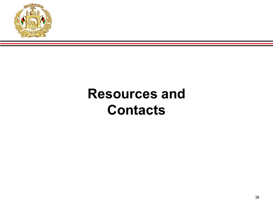 38 GIRoA Budget and Local Governance Basics Resources and Contacts