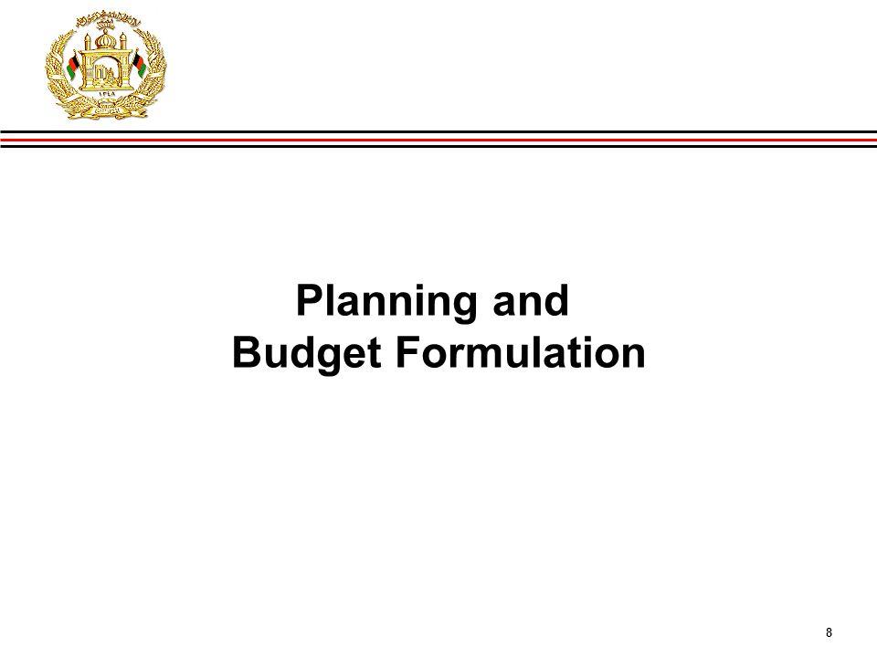 8 GIRoA Budget and Local Governance Basics Planning and Budget Formulation