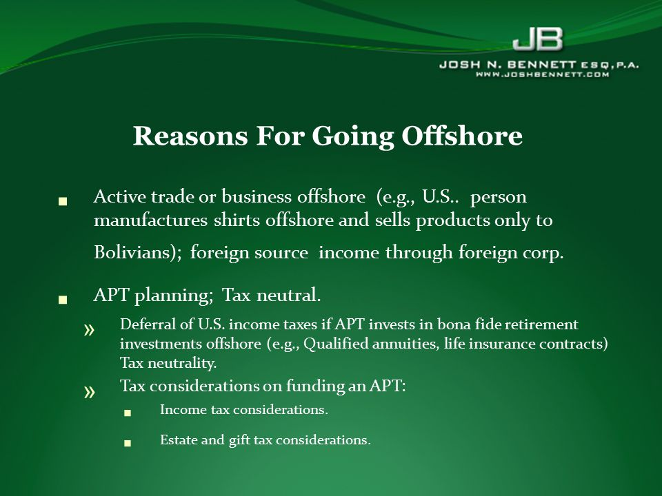  Active trade or business offshore (e.g., U.S..