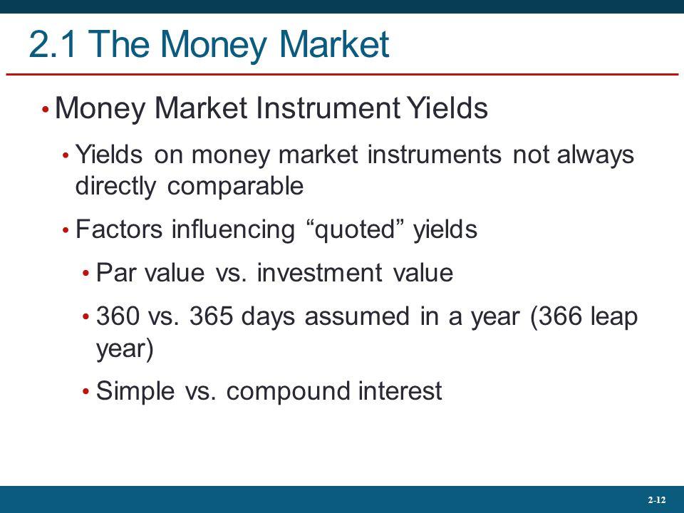 2-12 2.1 The Money Market Money Market Instrument Yields Yields on money market instruments not always directly comparable Factors influencing quoted yields Par value vs.