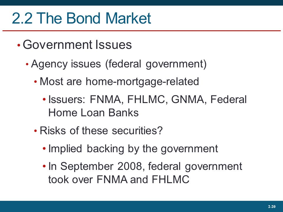 2-20 2.2 The Bond Market Government Issues Agency issues (federal government) Most are home-mortgage-related Issuers: FNMA, FHLMC, GNMA, Federal Home Loan Banks Risks of these securities.