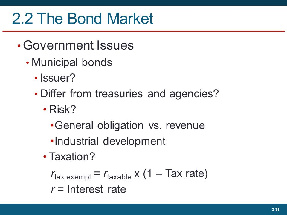 2-21 2.2 The Bond Market Government Issues Municipal bonds Issuer.