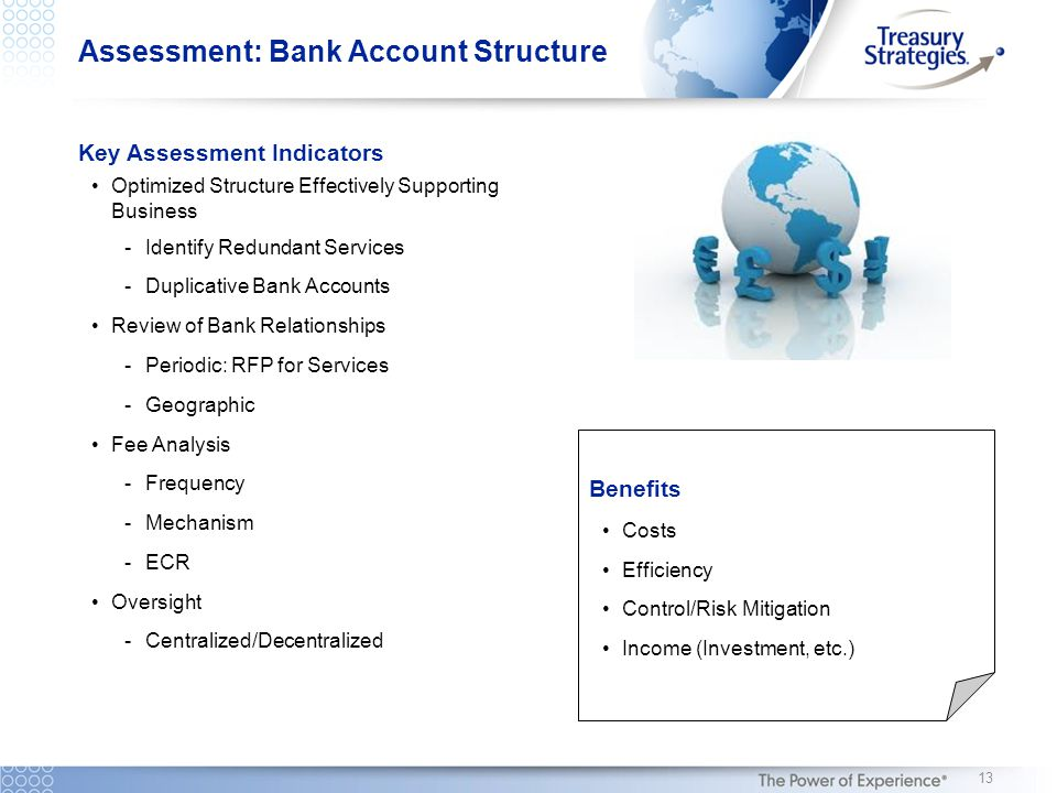 Assessment: Bank Account Structure Key Assessment Indicators Optimized Structure Effectively Supporting Business -Identify Redundant Services -Duplicative Bank Accounts Review of Bank Relationships -Periodic: RFP for Services -Geographic Fee Analysis -Frequency -Mechanism -ECR Oversight -Centralized/Decentralized Benefits Costs Efficiency Control/Risk Mitigation Income (Investment, etc.) 13