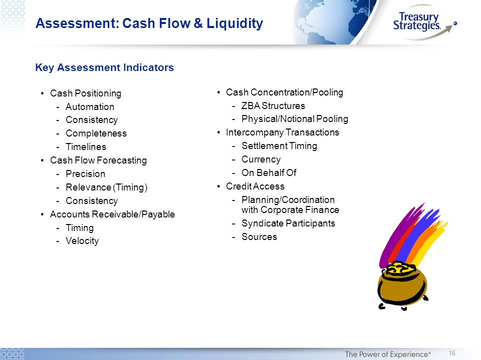 Key Assessment Indicators Cash Positioning -Automation -Consistency -Completeness -Timelines Cash Flow Forecasting -Precision -Relevance (Timing) -Consistency Accounts Receivable/Payable -Timing -Velocity Cash Concentration/Pooling -ZBA Structures -Physical/Notional Pooling Intercompany Transactions -Settlement Timing -Currency -On Behalf Of Credit Access -Planning/Coordination with Corporate Finance -Syndicate Participants -Sources 16 Assessment: Cash Flow & Liquidity