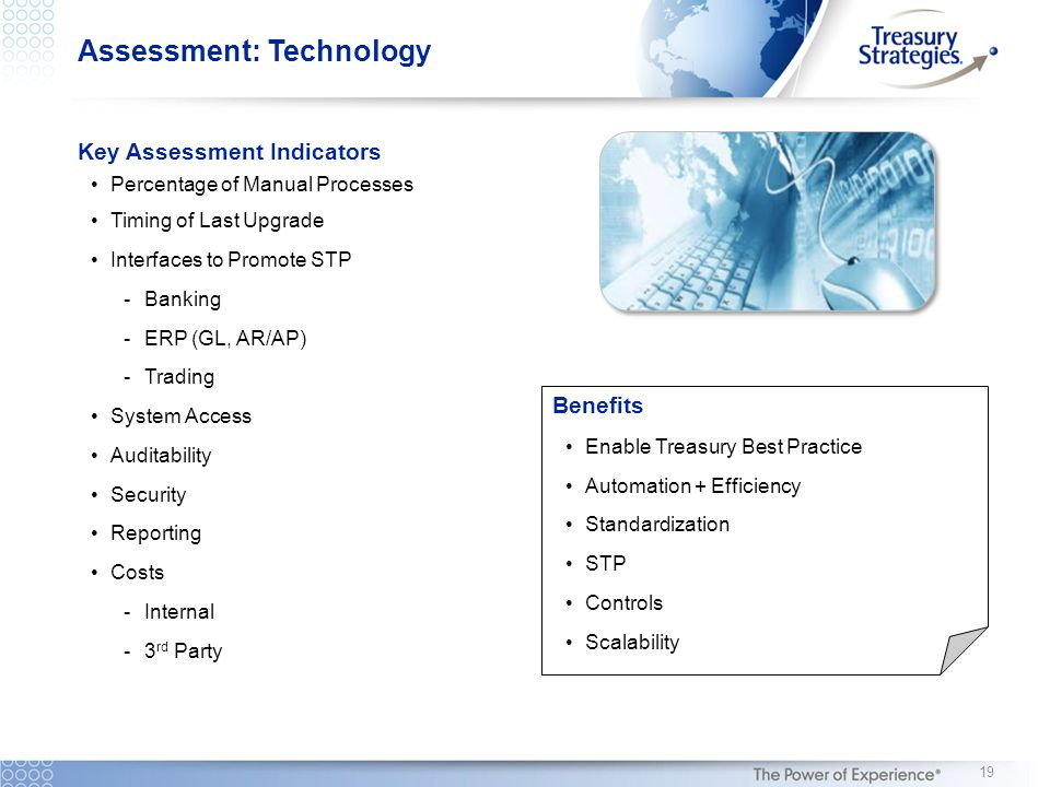 Assessment: Technology Key Assessment Indicators Percentage of Manual Processes Timing of Last Upgrade Interfaces to Promote STP -Banking -ERP (GL, AR