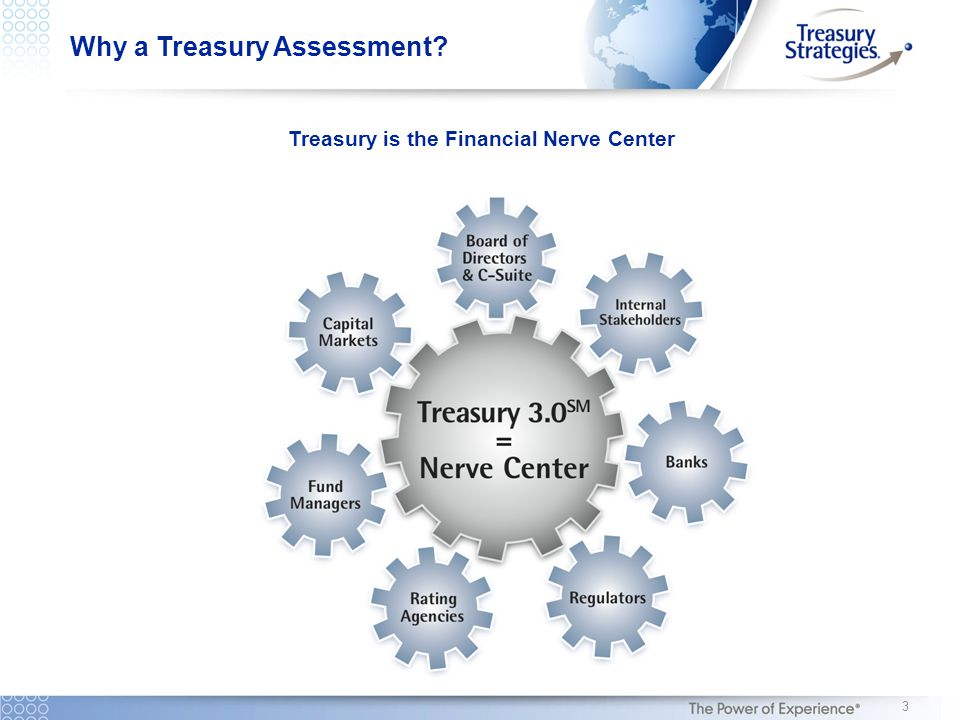 Why a Treasury Assessment? Treasury is the Financial Nerve Center 3