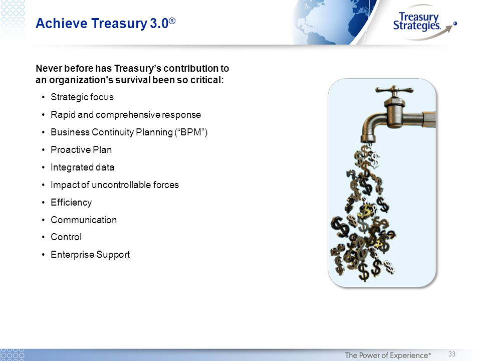 Never before has Treasury's contribution to an organization's survival been so critical: Strategic focus Rapid and comprehensive response Business Continuity Planning ( BPM ) Proactive Plan Integrated data Impact of uncontrollable forces Efficiency Communication Control Enterprise Support Achieve Treasury 3.0 ® 33