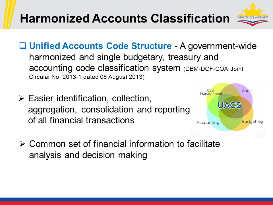 Harmonized Accounts Classification  Unified Accounts Code Structure - A government-wide harmonized and single budgetary, treasury and accounting code classification system (DBM-DOF-COA Joint Circular No.