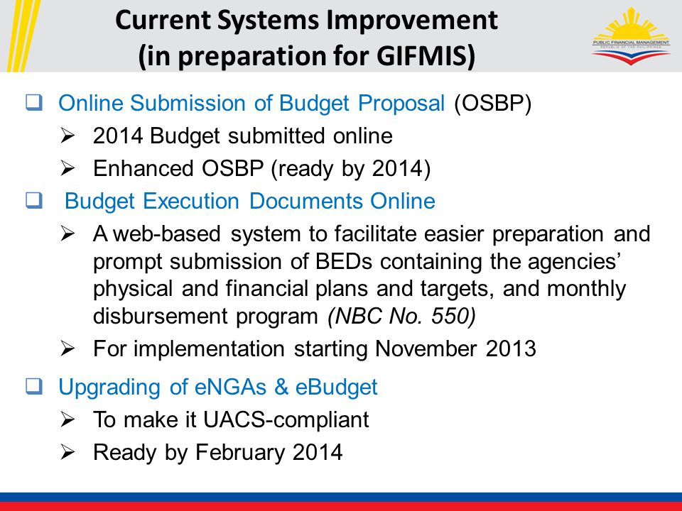 Current Systems Improvement (in preparation for GIFMIS)  Online Submission of Budget Proposal (OSBP)  2014 Budget submitted online  Enhanced OSBP (ready by 2014)  Budget Execution Documents Online  A web-based system to facilitate easier preparation and prompt submission of BEDs containing the agencies' physical and financial plans and targets, and monthly disbursement program (NBC No.