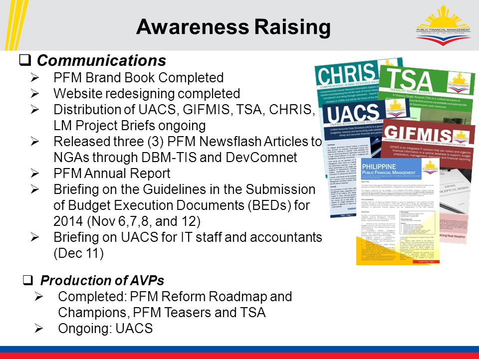 Awareness Raising  Communications  PFM Brand Book Completed  Website redesigning completed  Distribution of UACS, GIFMIS, TSA, CHRIS, LM Project Briefs ongoing  Released three (3) PFM Newsflash Articles to NGAs through DBM-TIS and DevComnet  PFM Annual Report  Briefing on the Guidelines in the Submission of Budget Execution Documents (BEDs) for 2014 (Nov 6,7,8, and 12)  Briefing on UACS for IT staff and accountants (Dec 11)  Production of AVPs  Completed: PFM Reform Roadmap and Champions, PFM Teasers and TSA  Ongoing: UACS