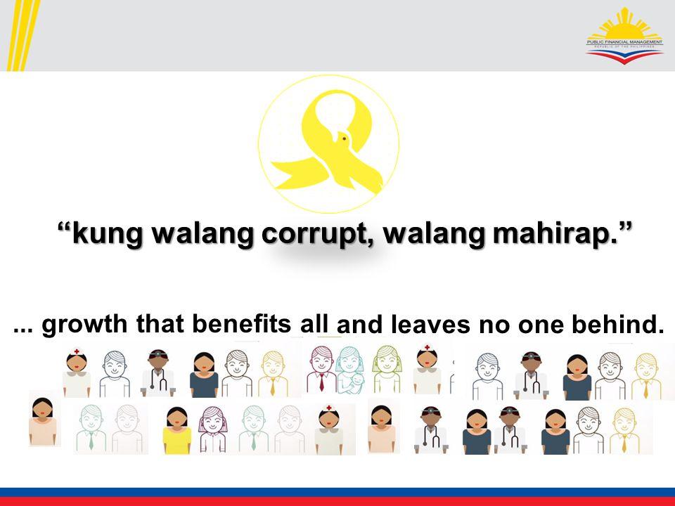 kung walang corrupt, walang mahirap. and leaves no one behind.... growth that benefits all