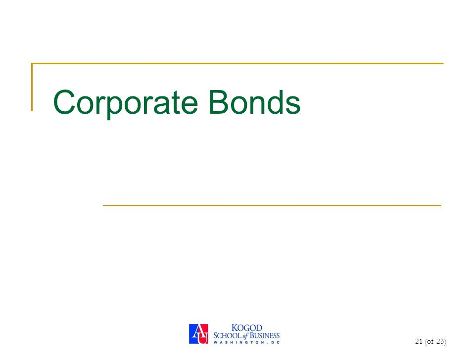 21 (of 23) Corporate Bonds