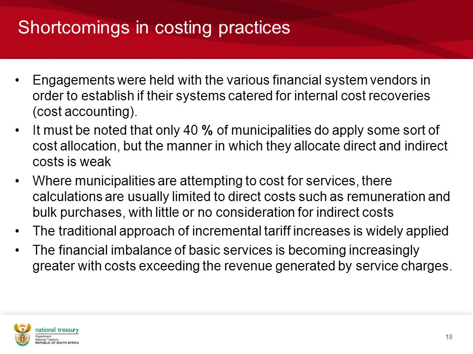 Engagements were held with the various financial system vendors in order to establish if their systems catered for internal cost recoveries (cost accounting).