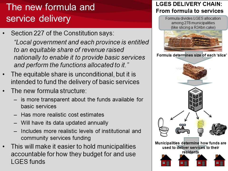 The new formula and service delivery Section 227 of the Constitution says: Local government and each province is entitled to an equitable share of revenue raised nationally to enable it to provide basic services and perform the functions allocated to it. The equitable share is unconditional, but it is intended to fund the delivery of basic services The new formula structure: –is more transparent about the funds available for basic services –Has more realistic cost estimates –Will have its data updated annually –Includes more realistic levels of institutional and community services funding This will make it easier to hold municipalities accountable for how they budget for and use LGES funds 9 Formula divides LGES allocation among 278 municipalities (like slicing a R34bn cake) Formula determines size of each 'slice' Municipalities determine how funds are used to deliver services to their residents LGES DELIVERY CHAIN: From formula to services