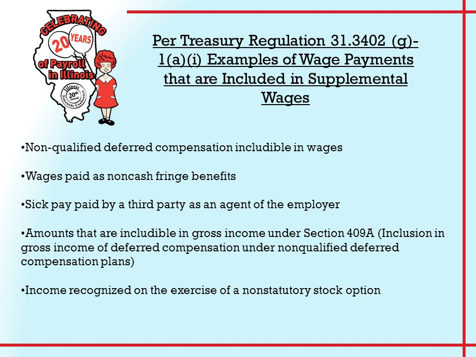 Non-qualified deferred compensation includible in wages Wages paid as noncash fringe benefits Sick pay paid by a third party as an agent of the employ