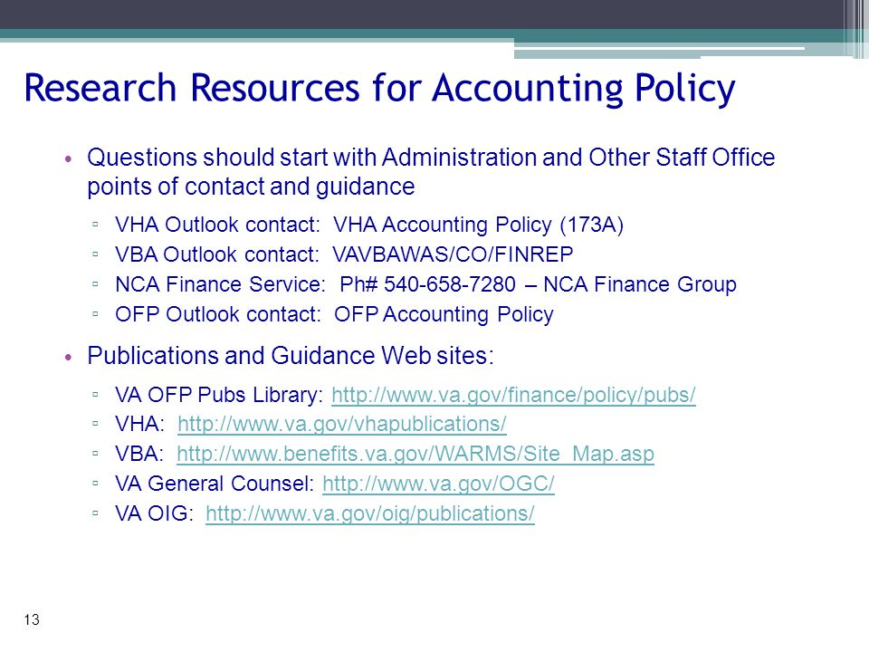 OFP Policy Volumes I. General Accounting II. Appropriations, Funds, & Related Information III.