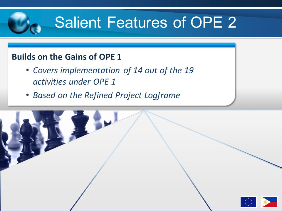 Builds on the Gains of OPE 1 Covers implementation of 14 out of the 19 activities under OPE 1 Based on the Refined Project Logframe Salient Features o