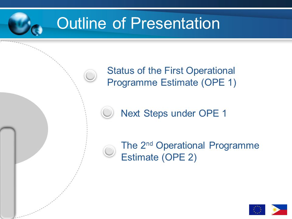 Outline of Presentation Status of the First Operational Programme Estimate (OPE 1) Next Steps under OPE 1 The 2 nd Operational Programme Estimate (OPE