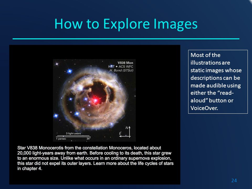 How to Explore Images Most of the illustrations are static images whose descriptions can be made audible using either the read- aloud button or VoiceOver.