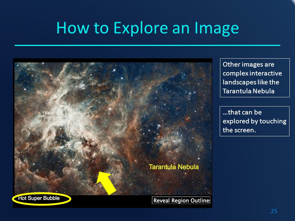How to Explore an Image Other images are complex interactive landscapes like the Tarantula Nebula …that can be explored by touching the screen.