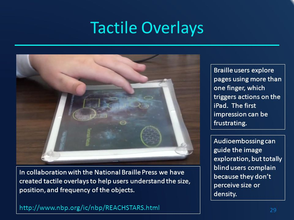 Tactile Overlays Braille users explore pages using more than one finger, which triggers actions on the iPad.
